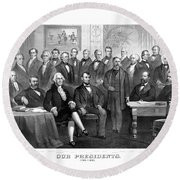 Our Presidents 1789-1881 Round Beach Towel by War Is Hell Store