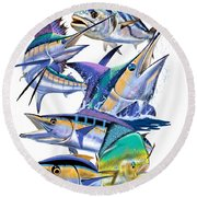 Pacific Gamefish  Round Beach Towel by Carey Chen
