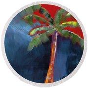 Palm Tree- Art By Linda Woods Round Beach Towel by Linda Woods