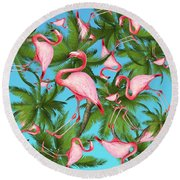 Palm Tree Round Beach Towel by Mark Ashkenazi