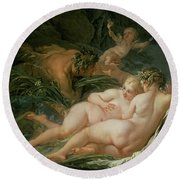 Pan And Syrinx Round Beach Towel by Francois Boucher