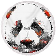 Panda Bear Art - Black White Red - By Sharon Cummings Round Beach Towel by Sharon Cummings