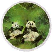 Pandas  Round Beach Towel by Odile Kidd