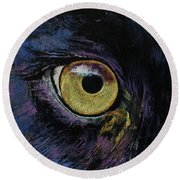 Panther Eye Round Beach Towel by Michael Creese