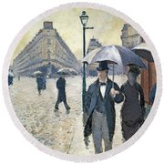 Paris A Rainy Day Round Beach Towel by Gustave Caillebotte