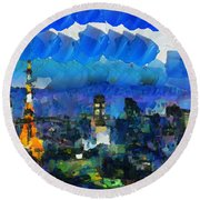 Paris Inside Tokyo Round Beach Towel by Sir Josef Social Critic - ART