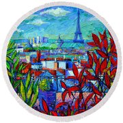 Paris Rooftops - View From Printemps Terrace   Round Beach Towel by Mona Edulesco