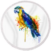 Parrot Watercolor  Round Beach Towel by Marian Voicu