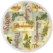 Parsley Collage Round Beach Towel by Debbie DeWitt