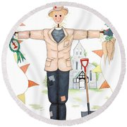 Parson Scarecrow Round Beach Towel by Sandra Moore