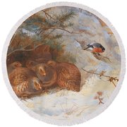 Partridge And A Bullfinch In The Snow  Round Beach Towel by Archibald Thorburn