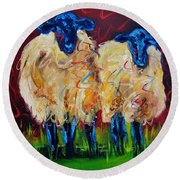 Party Sheep Round Beach Towel by Diane Whitehead