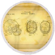 Patent Art Michigan Helmet Round Beach Towel by Big 88 Artworks
