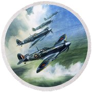 Patrolling Flight Of 416 Squadron, Royal Canadian Air Force, Spitfire Mark Nines Round Beach Towel by Wilf Hardy