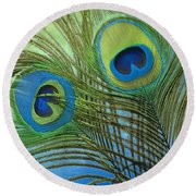 Peacock Candy Blue And Green Round Beach Towel by Mindy Sommers