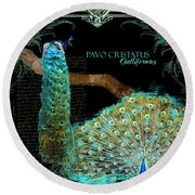 Peacock Pair On Tree Branch Tail Feathers Round Beach Towel by Audrey Jeanne Roberts