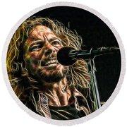 Pearl Jam Eddie Vedder Collection Round Beach Towel by Marvin Blaine