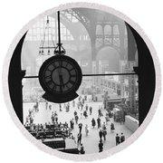 Penn Station Clock Round Beach Towel by Van D Bucher and Photo Researchers