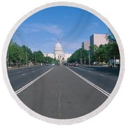 Pennsylvania Avenue, Washington Dc Round Beach Towel by Panoramic Images