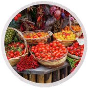 Peppers And Tomatoes Round Beach Towel by Inge Johnsson