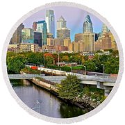 Philadelphia At Dusk Round Beach Towel by Frozen in Time Fine Art Photography