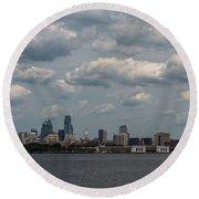 Philadelphia Skyline Across The Delaware River Round Beach Towel by Terry DeLuco