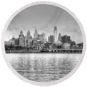 Philadelphia Skyline In Black And White Round Beach Towel by Jennifer Ancker