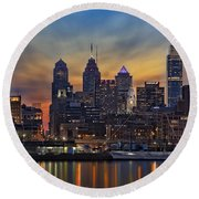 Philadelphia Skyline Round Beach Towel by Susan Candelario