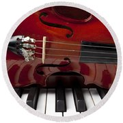 Piano Reflections Round Beach Towel by Garry Gay