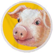 Pig Painting On Yellow Background Round Beach Towel by Jan Matson
