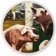 Pigs Round Beach Towel by Janet Blakeley