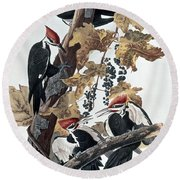 Pileated Woodpeckers Round Beach Towel by John James Audubon
