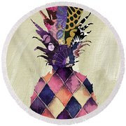 Pineapple Brocade II Round Beach Towel by Mindy Sommers