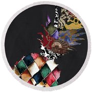 Pineapple Brocade Round Beach Towel by Mindy Sommers