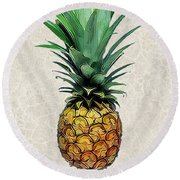 Pineapple Express On Mottled Parchment Welcome Round Beach Towel by Elaine Plesser