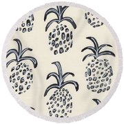 Pineapple Print Round Beach Towel by Anne Seay