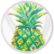 Pineapple Window To The Tropics Round Beach Towel by Carlin Blahnik