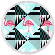 Ping Flamingo Round Beach Towel by Mark Ashkenazi
