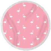 Pink Flamingos Pattern Round Beach Towel by Christina Rollo