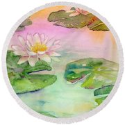 Pink Pond Round Beach Towel by Amy Kirkpatrick