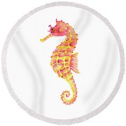 Pink Yellow Seahorse Round Beach Towel by Amy Kirkpatrick