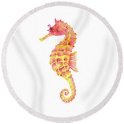 Pink Yellow Seahorse - Square Round Beach Towel by Amy Kirkpatrick