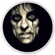 Poison Alice Cooper Round Beach Towel by Fred Larucci