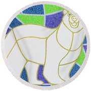 Polar Bear On Stained Glass Round Beach Towel by Pat Scott