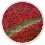 Poppies Of Remembrance Round Beach Towel by Martin Newman