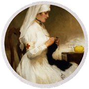 Portrait Of A Nurse From The Red Cross Round Beach Towel by Gabriel Emile Niscolet