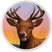 Portrait Of A Red Deer Round Beach Towel by James W Johnson