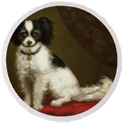 Portrait Of A Spaniel Round Beach Towel by Anonymous
