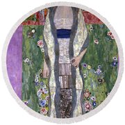 Portrait Of Adele Bloch-bauer II Round Beach Towel by Gustav Klimt