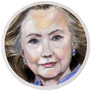Pastel Portrait Of Hillary Clinton Round Beach Towel by Greta Corens